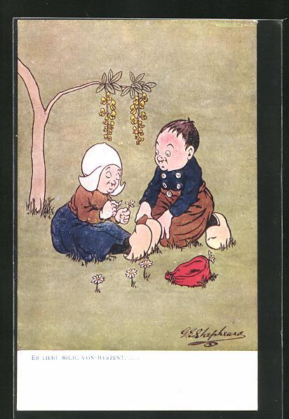 Künstler-AK George Edward Shepheard: Er liebt mich, von Herzen!, Scherz