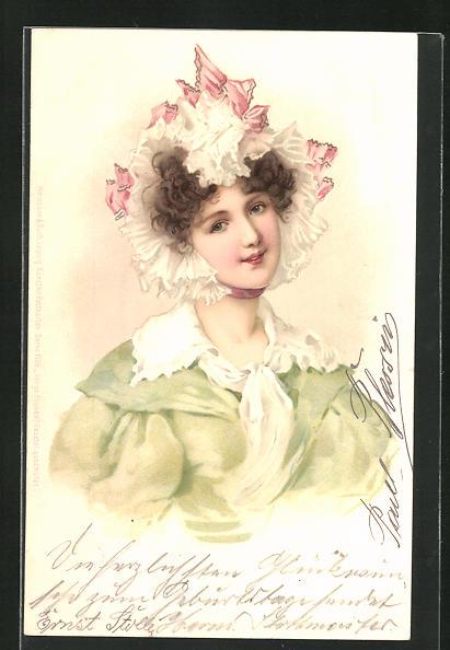 Künstler-Lithographie M. S. M.: Junge Frauen, Maid mit lockigem Haar und Haube