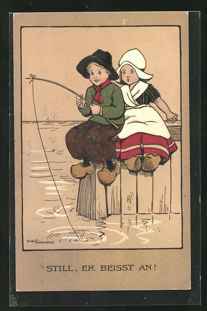 Künstler-AK Ethel Parkinson: Still, er beisst an!, kleines Paar beim Angeln