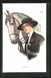 Künstler-AK Friedrich Kaskeline: I`m ready, elegante Reiterin mit Pferd