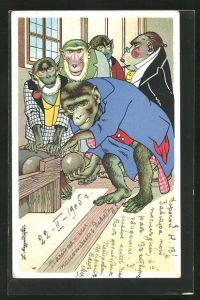 Künstler-Lithographie L. Meggendorfer: Affen beim Kegeln