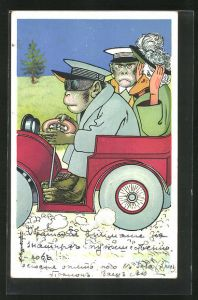 Künstler-Lithographie L. Meggendorfer: Affen und Gans in Automobil