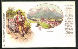 AK Pontresina, Ortsansicht, auf Schlitten sitzender Mann mit Hut