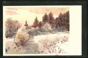 Lithographie Davos, Winterpartie am Frauenkirchli