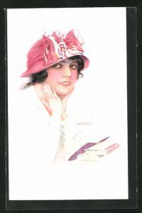 Künstler-AK Luis Usabal: junge Dame mit Schleifenhut
