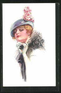 Künstler-AK Luis Usabal: Blonde Dame mit Hut und Rosen