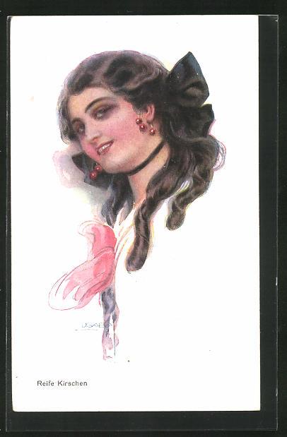 Künstler-AK Luis Usabal: Reife Kirschen, hübsche Dame mit Kirschen am Ohr