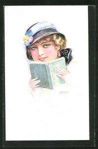 Künstler-AK Luis Usabal: Junge Dame mit Hut und Buch