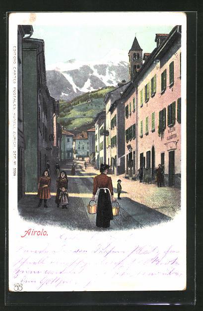 Lithographie Airolo, Passanten im Ort