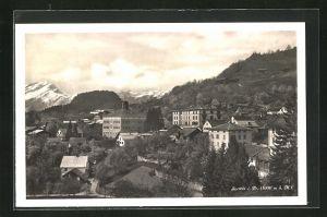 AK Seewis i. Pr., Gesamtansicht mit Alpenmassiv