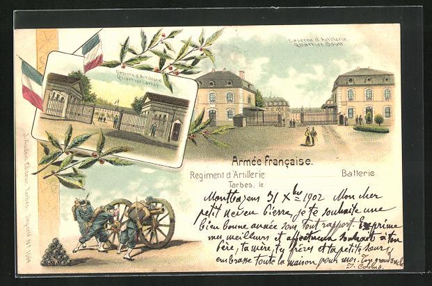 Lithographie Tarbes, Caserne d`Artillerie Auartier Soult, Caserne d`Artillerie Quartier Larrey