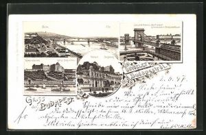 Lithographie Budapest, Burg in Ofen, Kettenbrücke mit Franz Josefquai, Burgkiosk