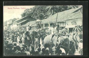 AK Kandy Perahara, Prozession mit Elefanten