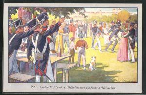 Künstler-AK Genève, Centenaire de la Réunion 1914, Réjoussances publiques à Plainpalais