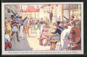Künstler-AK Genève, Centenaire de la Réunion 1914, Les soldats suisses et genevois fraternisent...