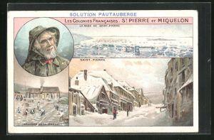 Lithographie St. Pierre, Sechage de la Morue, La Rade de Saint-Pierre, Ortspartie im Winter