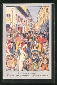 Künstler-AK Genève, Centenaire de la Réunion 1914, Défilé des troupes suisses devant le gouvernement provisoire