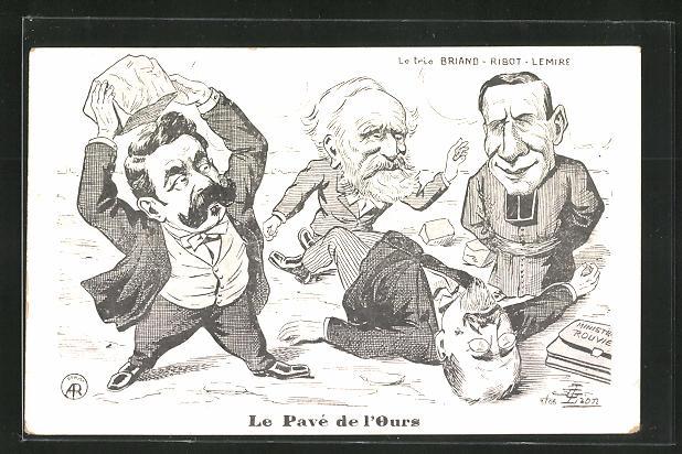 AK Frankreich, Le Pavé de l`Ours, le trio Briand - Ribot - Lemire