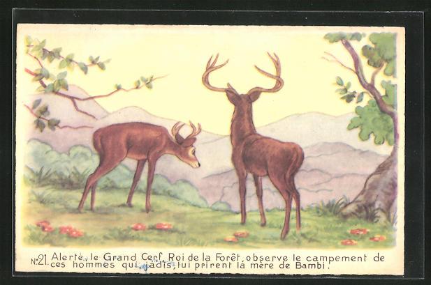 AK Bambi, Le Grand Cerf, Roi de la Foret, observe le campement des hommes, Comic, Walt Disney