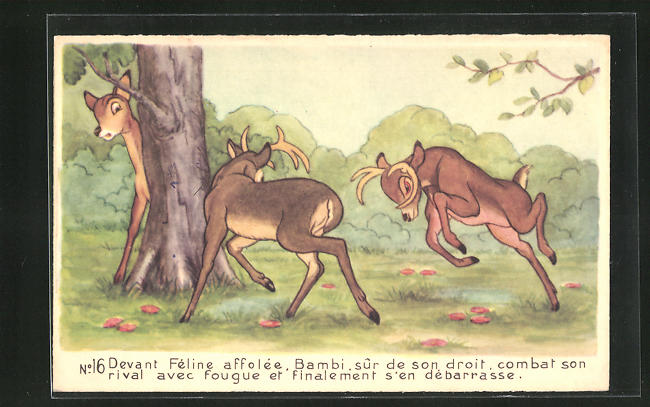 AK Bambi combat son rival avec fougue, Comic, Walt Disney