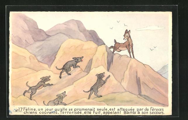 AK Bambi, Féline est attaquée par de féroces chiens courants, Comic, Walt Disney