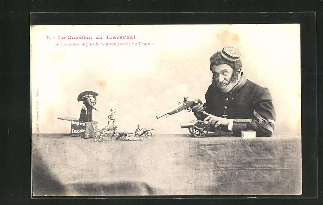 AK Transvaal, Soldat zielt mit seiner Pistole auf Spielzeugsoldaten, Burenkrieg