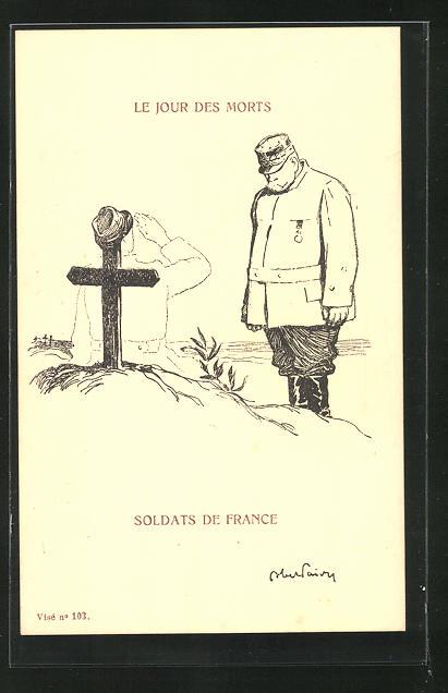 AK Soldat verneigt sich vor einem Soldatengrab, Propaganda