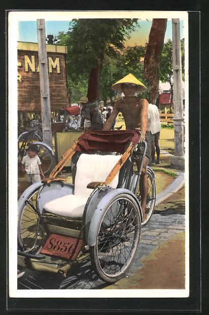 AK Saigon, Un cyclo-pousse, Einheimischer mit seinem Rikscha-Motorrad