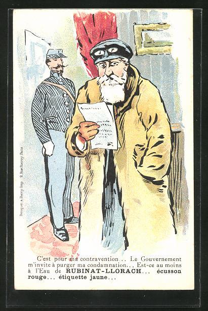 AK Frankreich, Mann mit Chauffeurmütze und -brille liest ein Dokument, Rubinat-Llorach