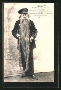 AK Louis Coulon, Mouleur aux Usines Saint-Jacques á Montlucon, Mann mit über 3 m langem Bart