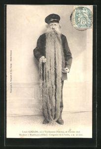 AK Louis Coulon, Mouleur á Montlucon, Mann mit über 3 m langem Bart
