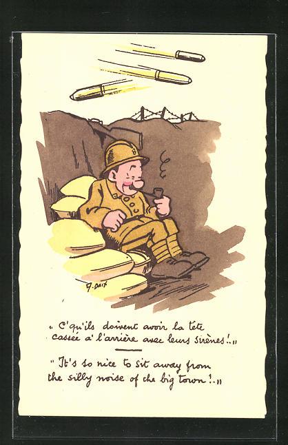 Künstler-AK Lustiger Soldat wartet in Schützengraben den Angriff ab, Scherz