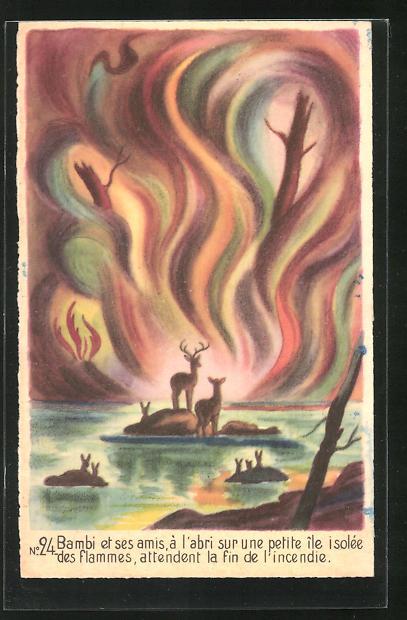 AK Walt Disney, Bambi No. 24, Bambi et ses amis, à l`abri sur une petite île isolée...