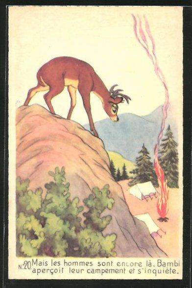 AK Walt Disney, Bambi No. 20, Mais les hommes sont encore là...