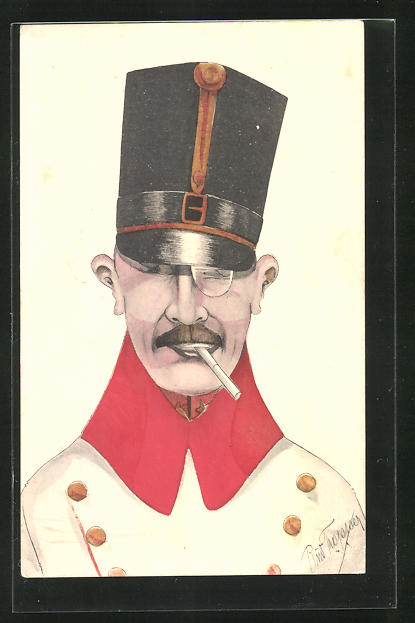 Künstler-AK Rud. Tropper: Karikatur eines österreichischen Offiziers mit Monokel