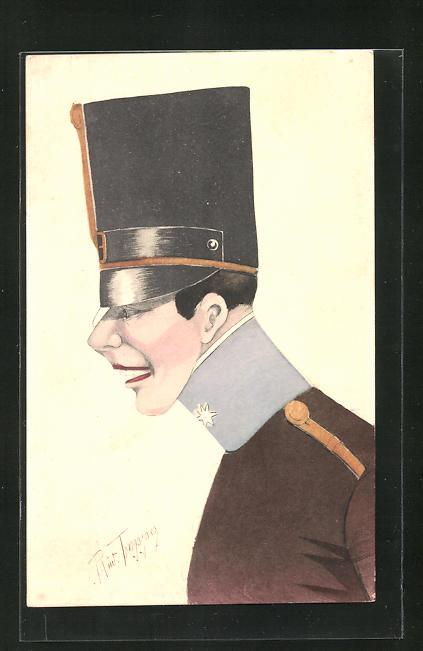 Künstler-AK Rud. Tropper: Karikatur eines österr. Offiziers mit Monokel