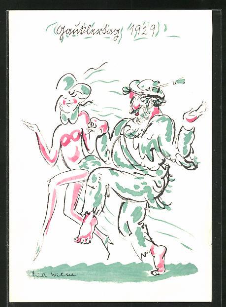 Künstler-AK sign. E. Wilke: Einladung zum Kostümfest der Künstlervereinigung Die Gaukler, Avantgarde