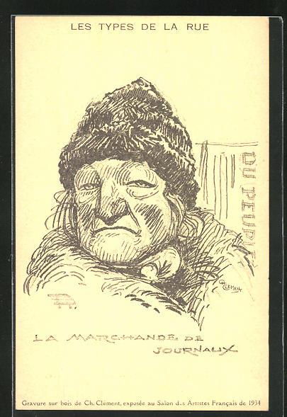 Künstler-AK Ch. Clement: Les Types de la Rue, La Marchande de Journaux, Zeitungsverkäuferin
