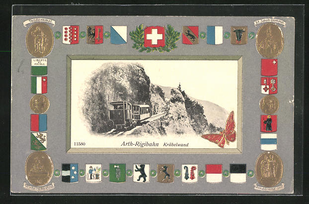 Passepartout-Lithographie Arth-Rigibahn, Kräbelwand, Wappen