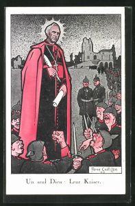 Künstler-AK sign. Chatillon: Un seul Dieu - Leur Kaiser, Propaganda Entente