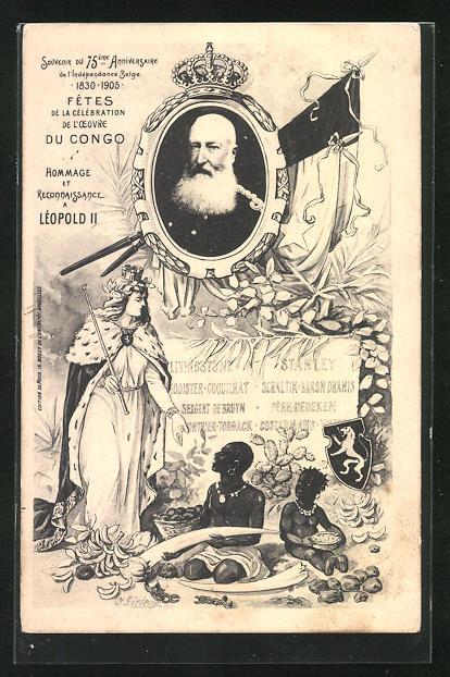 Künstler-AK J. Gielens: Fêtes de la Célèbration de l`Oeuvre du Congo 1905, Leopold II. von Belgien, Kolonisierung
