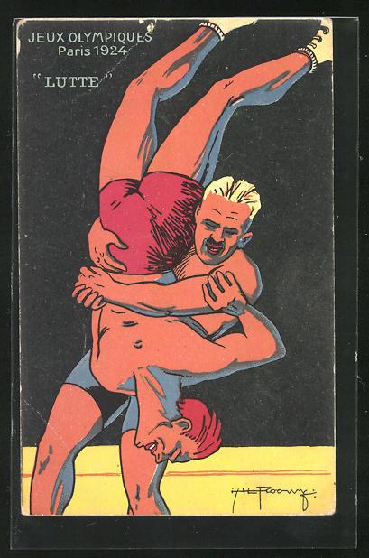 Künstler-AK Paris, jeux Olympiques 1924, Lutte, Ringen