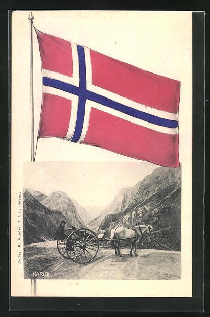 AK Mann mit Kariol- Pferdegespann vor norwegischer Bergkulisse, Flagge