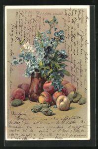 Künstler-AK Clara von Sivers: Stillleben mit Früchten und Vergissmeinnicht in der Vase