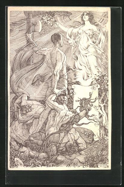 Künstler-AK sign. Anichini: Siegreicher Krieger mit Rutenbündel vor einem Engel