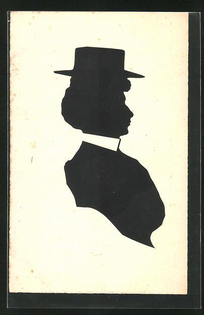 Künstler-AK Scherenschnitt einer Dame mit Hut