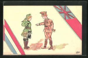 Künstler-AK Englischer und schottischer Soldat in Uniform