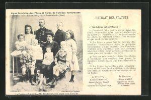 AK Ligue Populaire des Pères et Mères de Familles nombreuses, Unterstützung von kinderreichen Familien