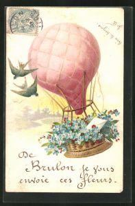 Lithographie Ballon mit Blumenkorb und Schwalben
