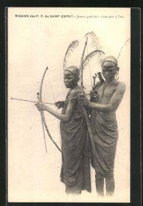 AK Jeunes guerriers s`exercant à l`arc, junge afrikanische Krieger üben mit Pfeil und Bogen